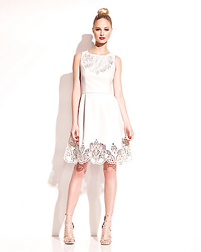NEW LASER CUT FAUX LEATHER DRESS WHITE