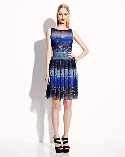 OMBRE LACE SLEEVELESS DRESS BLUE MULTI