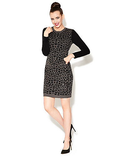 ON THE PROWL SWEATER DRESS WITH SEQUINS LEOPARD