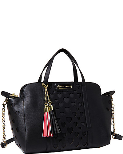 OPEN YOUR HEART LARGE SATCHEL BLACK