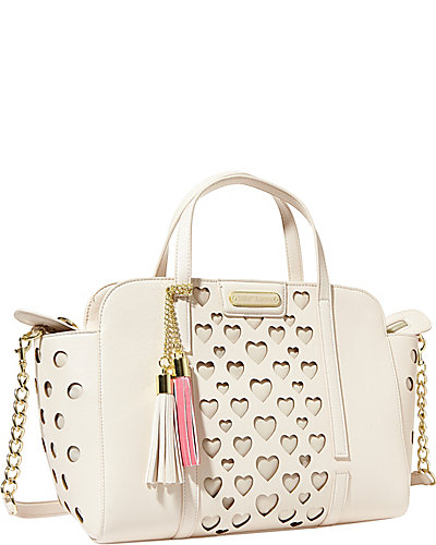 OPEN YOUR HEART LARGE SATCHEL CREAM