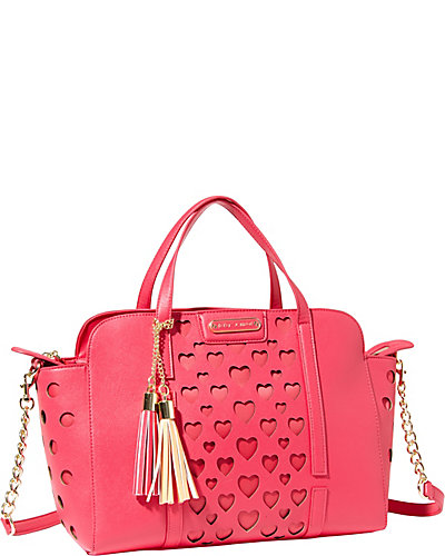 OPEN YOUR HEART LARGE SATCHEL FUCHSIA