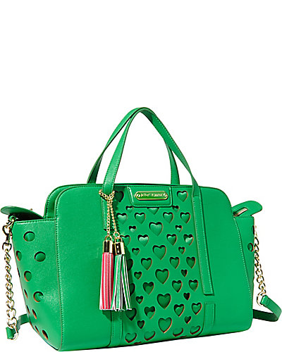 OPEN YOUR HEART LARGE SATCHEL GREEN