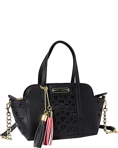 OPEN YOUR HEART SMALL SATCHEL BLACK