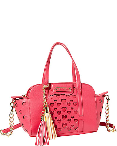 OPEN YOUR HEART SMALL SATCHEL FUCHSIA