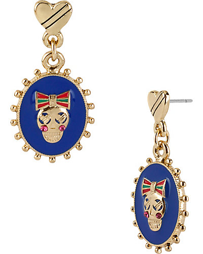 OVAL SKULL DROP EARRING MULTI