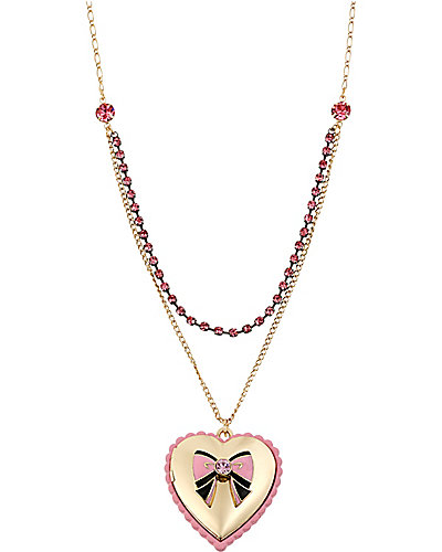PARIS BOW AND HEART PENDANT PINK
