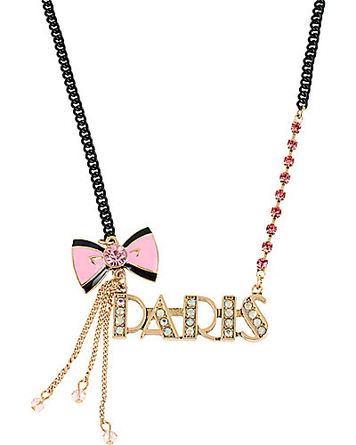 PARIS BOW NECKLACE PINK