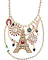 PARIS EIFFEL TOWER BIB NECKLACE FUCHSIA