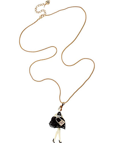 PARIS GIRL LONG PENDANT BLACK