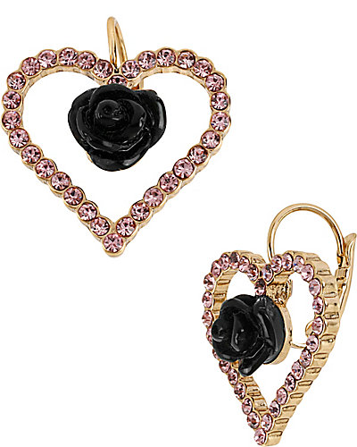 PARIS HEART FLOWER DROP EARRING PINK