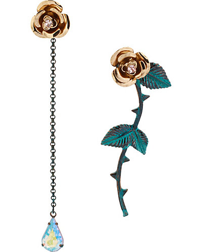 PATINA FLOWER MISMATCH EARRING BLUE