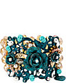 PATINA FLOWER STRETCH BRACELET BLUE