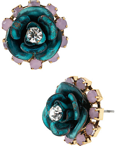 PATINA ROSE STUD EARRING BLUE