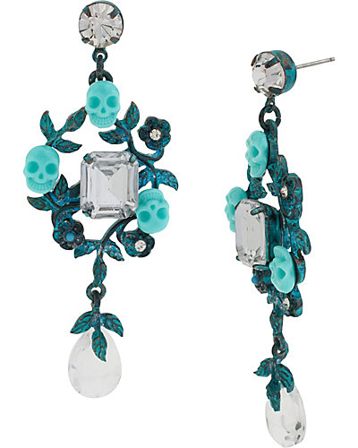 PATINA SKULL DROP EARRING BLUE