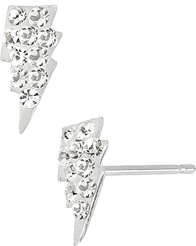 PAVE LIGHTENING BOLT STUD EARRING CLEAR