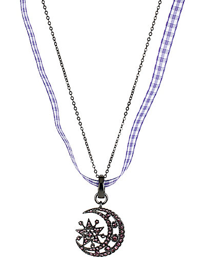 PAVE PENDANT MOON PURPLE
