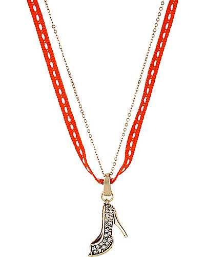 PAVE PENDANT SHOE ORANGE
