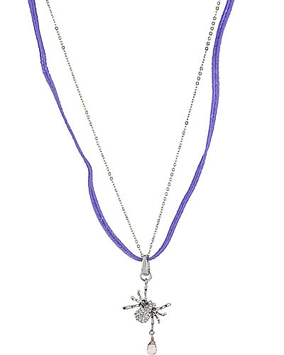 PAVE THREE WAY SPIDER NECKLACE PURPLE