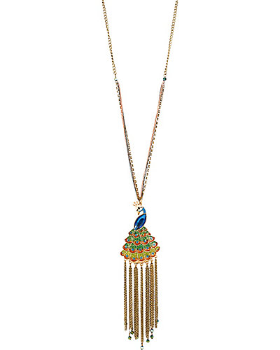 PEACOCK LONG PENDANT NECKLACE MULTI