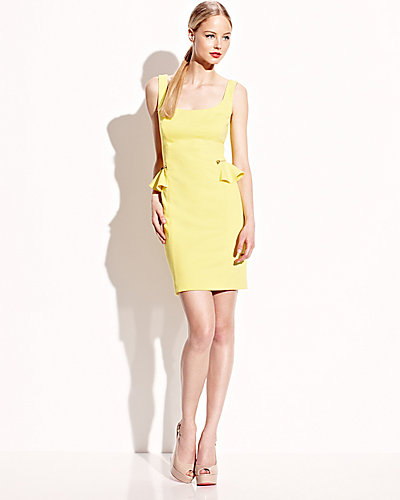PEPLUM DRESS WITH ZIPPER DETAILS YELLOW