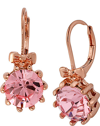 PINK CRYSTAL BOW DROP EARRING PINK