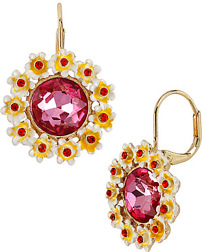 PINK CRYSTAL FLOWER DROP EARRING MULTI