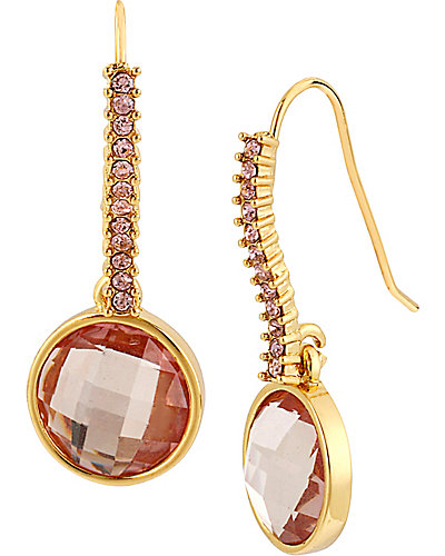 PINK GOLD GEM DROP EARRING PINK
