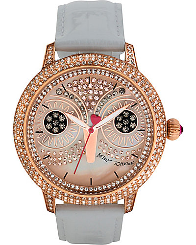 PINK OWL WHITE STRAP WATCH WHITE