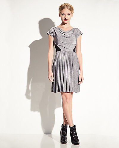 PLEATED DRESS WITH LACE INSETS GREY