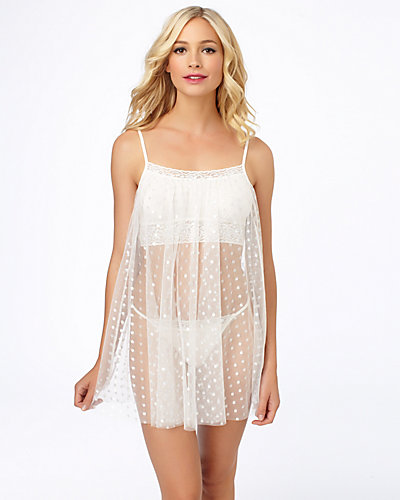 POINT DESPRIT BABYDOLL WITH SHELF BRA WHITE