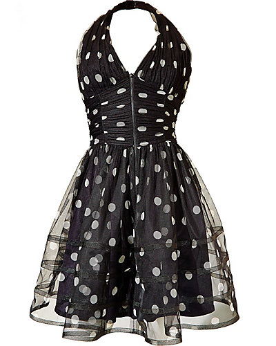 POLKA DOT HALTER DRESS BLACK