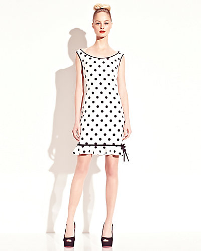 POLKA DOT HEART CUTOUT DRESS WHITE-BLACK