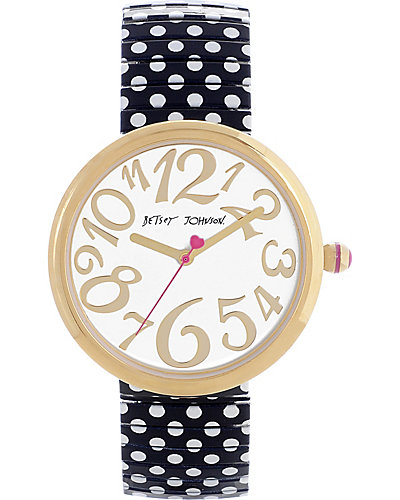 POLKA DOT STRAP WATCH BLACK