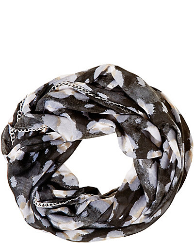 PRETTY KITTY CHAIN EDGE INFINITY SCARF BLACK