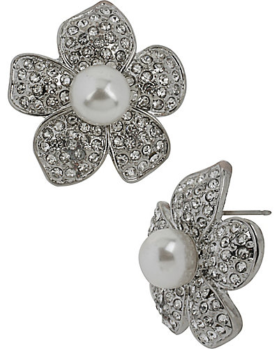 PRETTY PEARL PUNK FLOWER BUTTON EARRING CRYSTAL