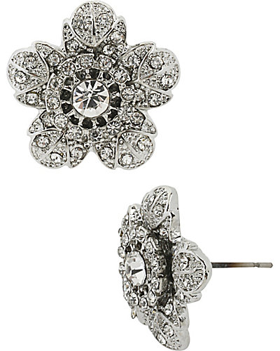 PRETTY PEARL PUNK FLOWER STUD EARRING CRYSTAL
