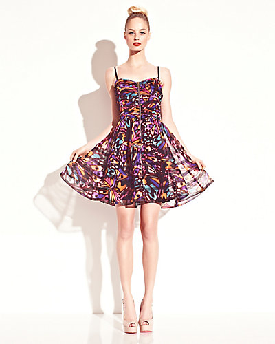 PRINTED RUCHED DRESS MULTI