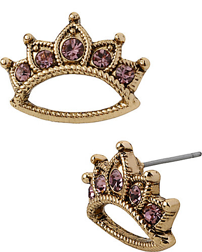 PROM PARTY CROWN STUD EARRING PURPLE