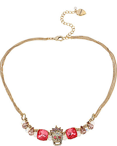 PROM PARTY SKULL PINK MINI FRONTAL NECKLACE MULTI