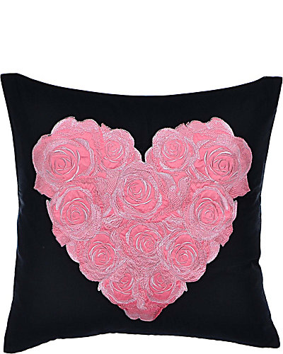 PUNK PRINCESS HEART EMBROIDERED PILLOW BLACK