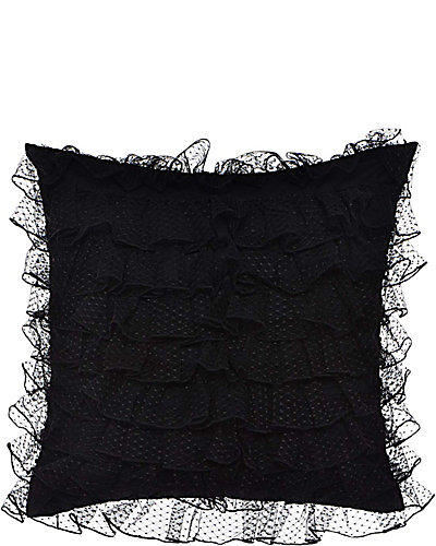 PUNK PRINCESS LAYERED RUFFLE PILLOW BLACK