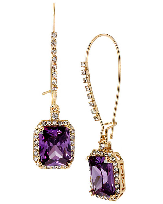 Purple square shepherds hook earrings