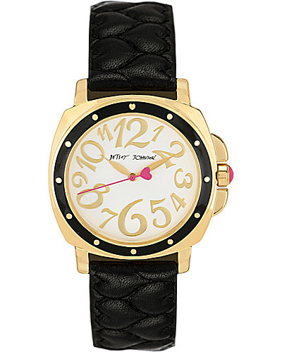 QUILTED HEART STRAP WATCH BLACK