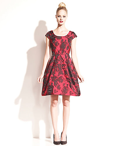 RED ROSES CAP SLEEVE PARTY DRESS RED