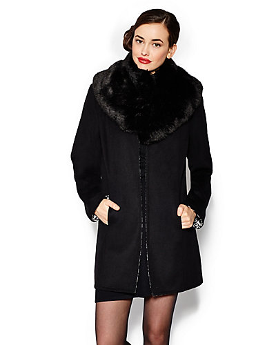 REVERSIBLE JACKET WITH REMOVABLE FAUX FUR COLLAR BLACK