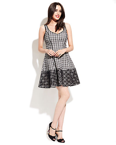 RING GRID PRINT SUNDRESS BLACK-WHITE