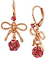 ROSE GOLD BOW BALL DROP EARRING PINK