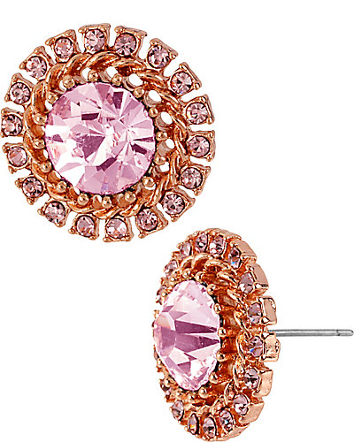 ROSE GOLD CRYSTAL BURST EARRING PINK