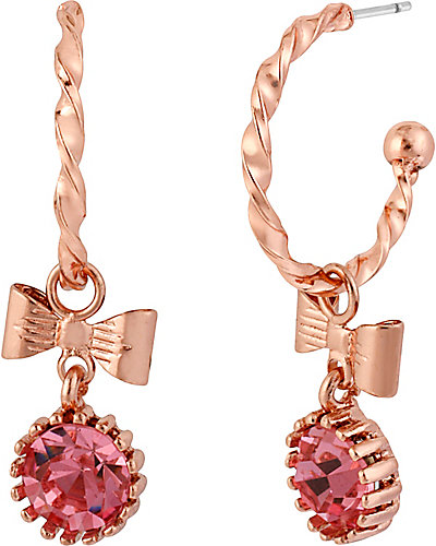 ROSE GOLD CRYSTAL DROP EARRING PINK